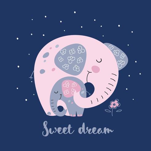 Elefante com um elefante bebê em um estilo bonito. Sonho Doce. Inscrição. Vetor