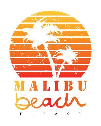 Malibu praia palmeiras conceito de férias de verão vetor