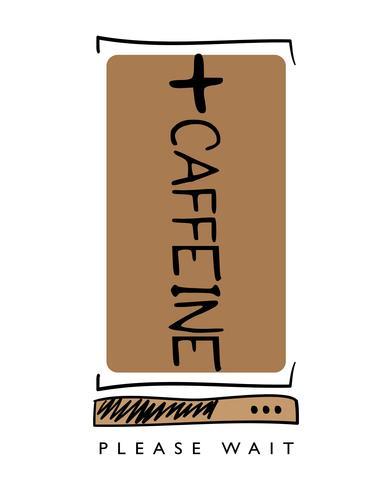 Cafeína, carregando, café, conceito, desenho vetor