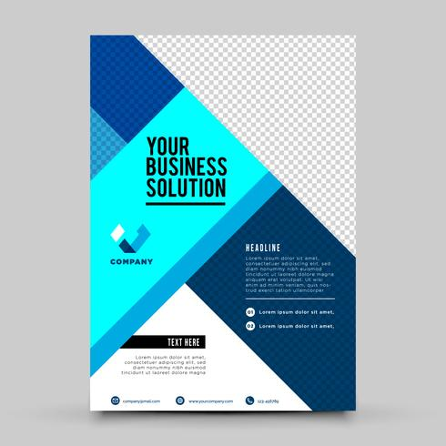 Folheto de negócios de escritório azul vetor