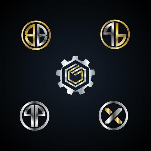 Conjunto de coleta de logotipo de letra de Metal de ouro prata abstrata ícone de símbolo de sinal vetor