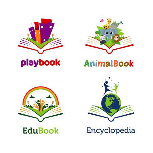 Coleção de modelo de logotipo aberto de livro lúdico vetor