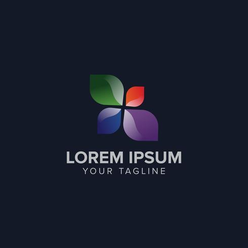 Modelos de design de conceito de logotipo de folha cor criativa vetor