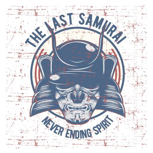 Máscara de guerreiro samurai vetor
