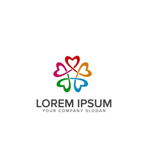 logotipo de conexão de amor. apoio útil logo design conceito templa vetor