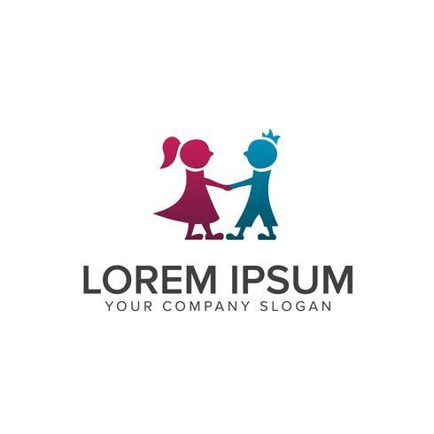 modelo de conceito de design de logotipo de casal de pessoas românticas vetor