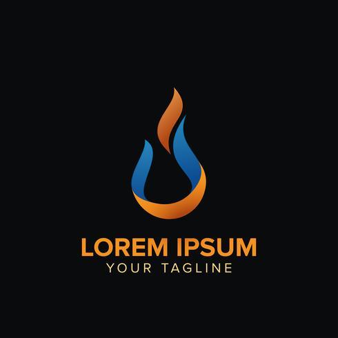 Modelos de design criativo de logotipo de gota de fogo vetor