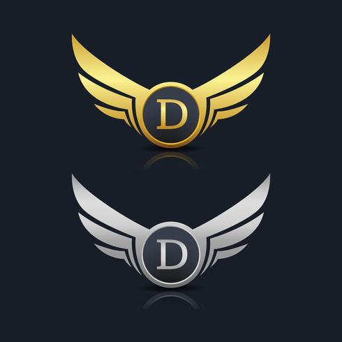 Letra D emblema Logo vetor