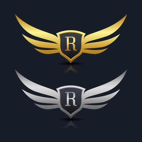 Escudo de asas Letter R Logo Template vetor