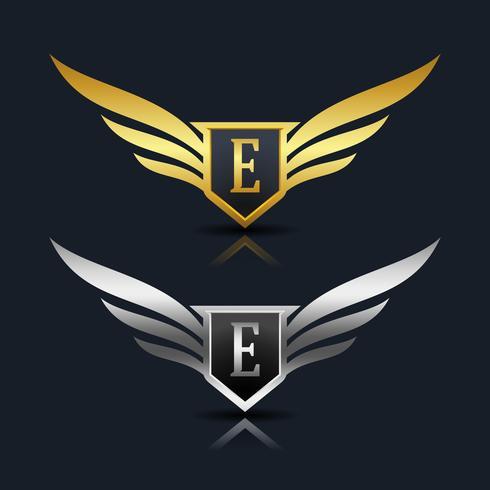 Escudo de asas letra E logotipo modelo vetor