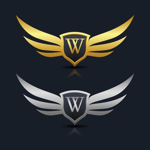 Emblema de letra W logotipo vetor