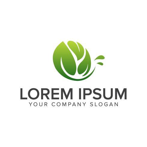 Logotipo de folha natural. Jardim paisagismo logotipo design conceito templa vetor