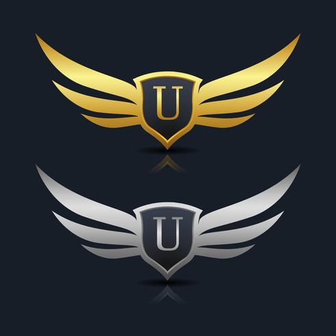 letra u logotipo do emblema vetor