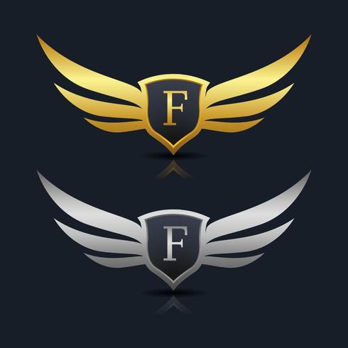 Escudo de asas letra F logotipo modelo vetor
