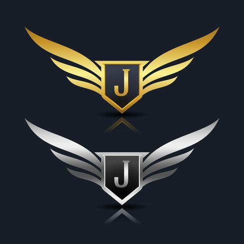 Escudo de asas letra J logotipo modelo vetor