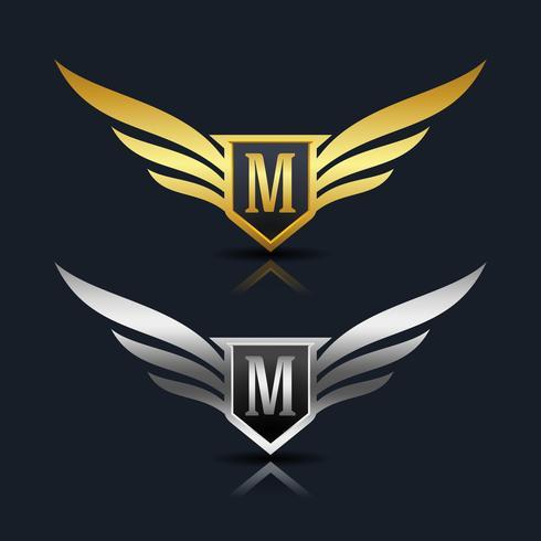 Escudo de asas letra M logotipo modelo vetor