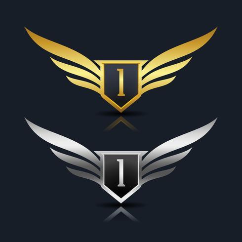 Escudo de asas Letter I Logo Template vetor