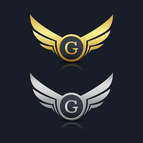 Escudo de asas letra G logotipo modelo vetor