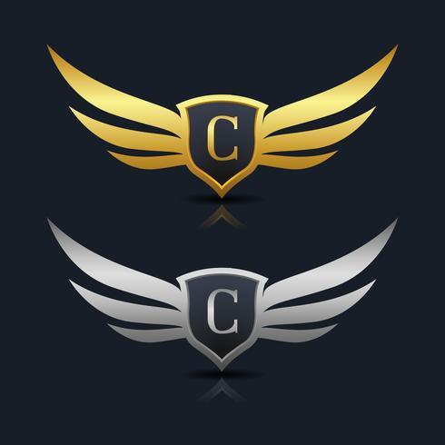 logotipo de emblema letra c vetor