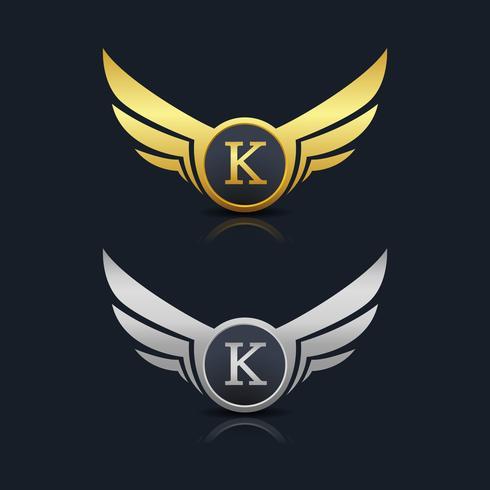 Asas escudo modelo de logotipo de letra K vetor