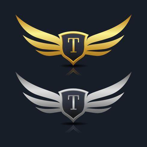 Modelo de logotipo de escudo de asas letra T vetor