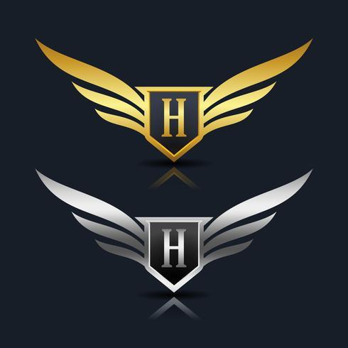 Escudo de asas letra H logotipo modelo vetor