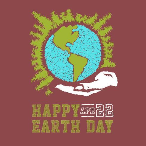Esboço tirado mão do conceito do dia da terra do vetor. Mãos humanas segurando o globo com fundo de estrelas. Lettering Dia da Terra vetor