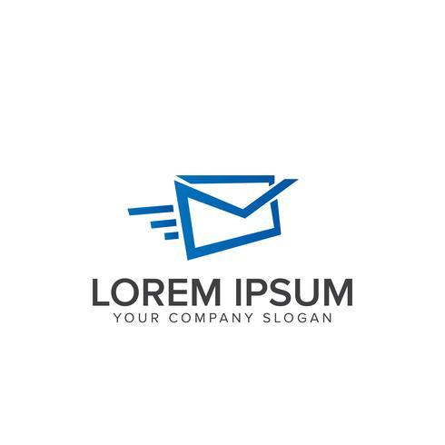 modelo de conceito de design de logotipo de correio rápido vetor