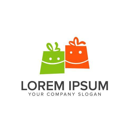 logotipo de saco de compras de sorriso vetor