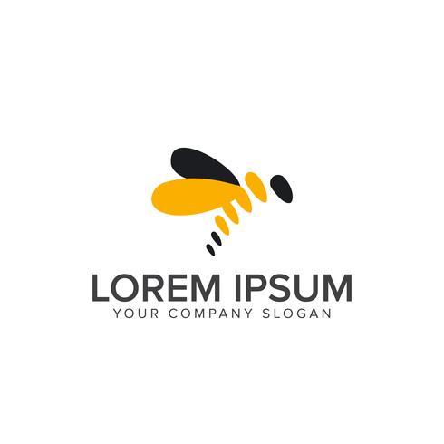 modelo de conceito de design de logotipo de abelha vetor