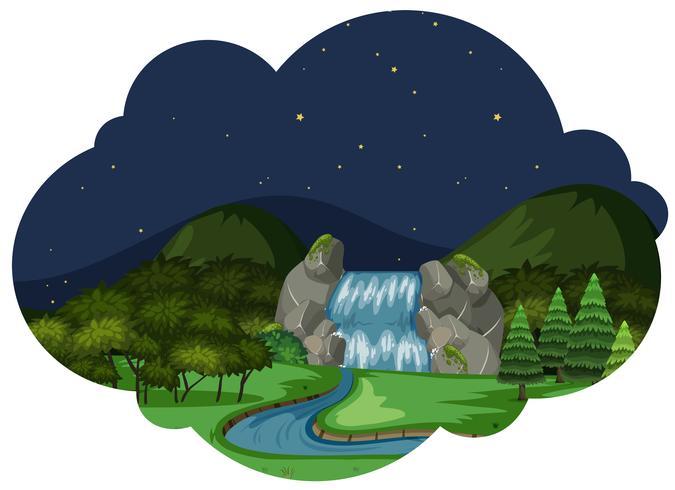 Um, rio, em, paisagem natureza, à noite vetor