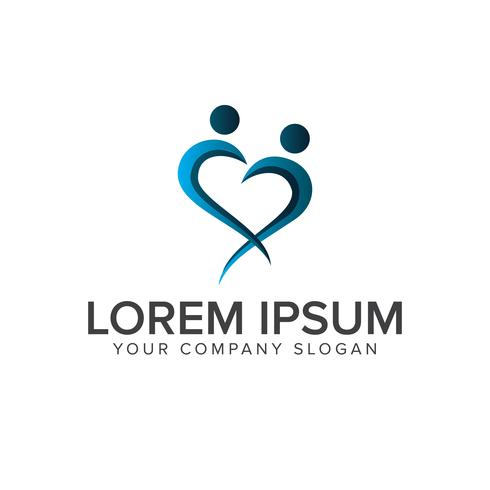 modelo de conceito de design de logotipo de pessoas amor vetor