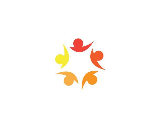 As pessoas da comunidade se importam logotipo e modelo de símbolos vetor