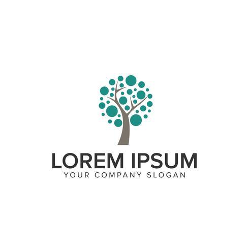 modelo de conceito de design de logotipo de árvore de ponto vetor