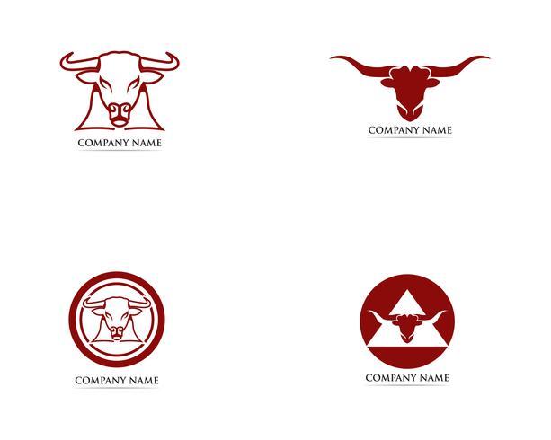 Modelo de logotipo e símbolos de chifre de touro vetor