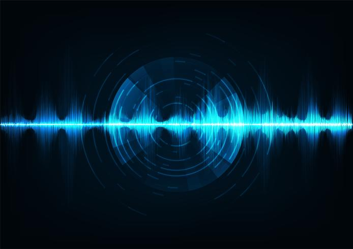 Ondas sonoras de música azul. Tecnologia de áudio, pulso musical. vetor