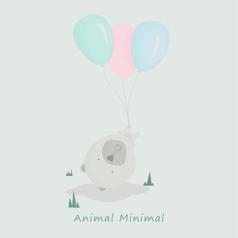 Voo bonito do urso com ilustração do vetor dos desenhos animados do balão.