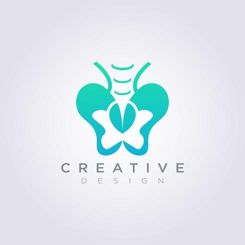 Projeto de ilustração vetorial osso pélvico Modelo de logotipo de símbolo clipart vetor