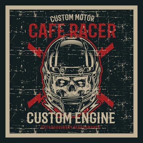 crânio de estilo grunge vintage usando capacete e texto café racer mão desenho vetorial vetor