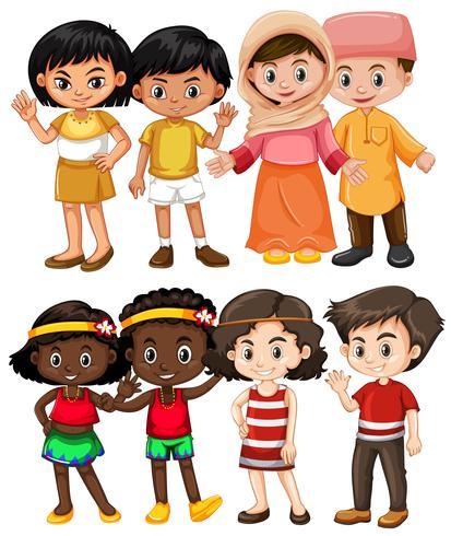 Crianças felizes de diferentes países vetor