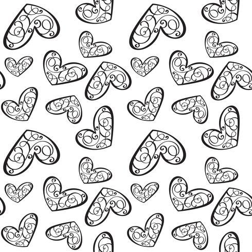 Padrão de vetor sem costura com corações caligráficas. Ornamento para o dia dos namorados. Mão ilustrações desenhadas Pinceladas isoladas