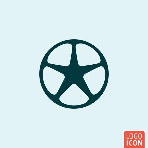 Design minimalista de ícone de aro de roda vetor