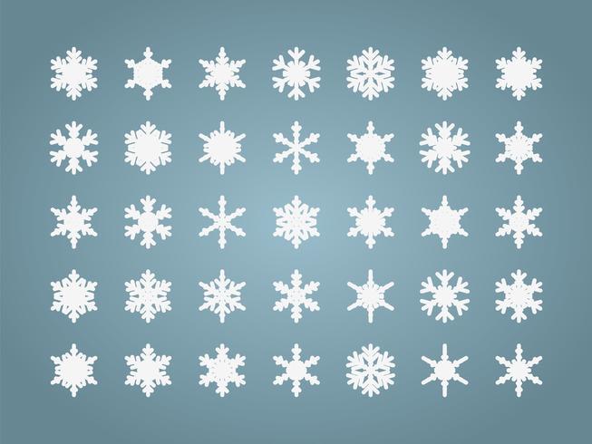 Conjunto isolado de flocos de neve vetor