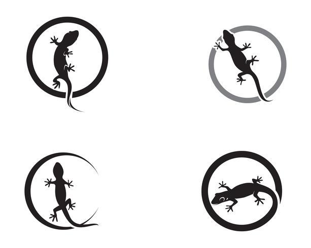 Lagarto camaleão Lagartixa silhueta preta vector 10