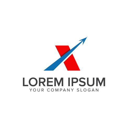 modelo de conceito de design de logotipo letra x seta vetor