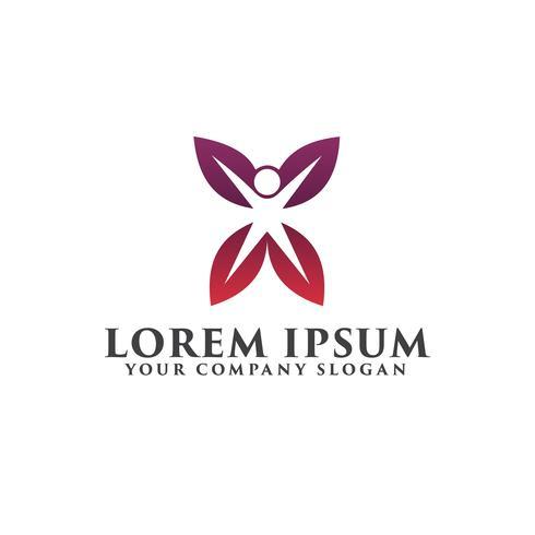 modelo de conceito de design de logotipo de pessoas de folha vetor