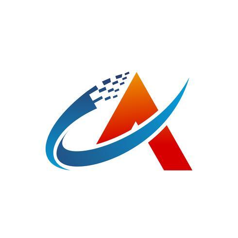 modelo de conceito de design de tecnologia de logotipo letra A vetor