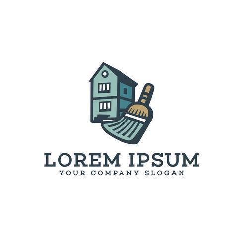 modelo de conceito de design de logotipo de casas de serviços de limpeza vetor