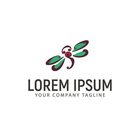modelo de conceito de design de logotipo de mão desenhada de libélula vetor
