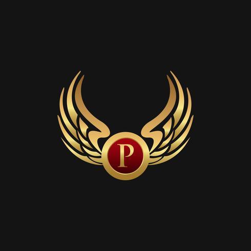 Modelo de conceito de design de logotipo de luxo letra P emblema asas vetor